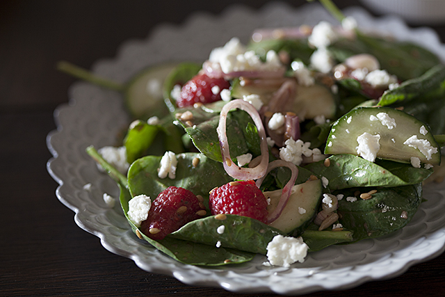 Raspberry, Goat Cheese Salad + Berry Omega Vinaigrette